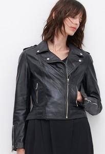 Czarna kurtka Reserved krótka ze skóry