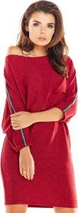 Czerwona sukienka Awama w stylu casual z długim rękawem mini