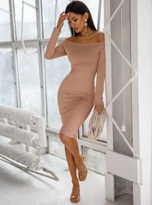 Brązowa sukienka SELFIEROOM dopasowana mini