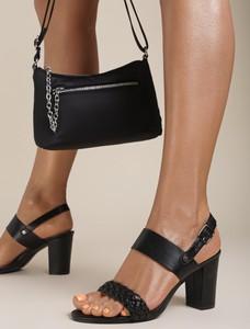 Czarne sandały Renee na wysokim obcasie z klamrami