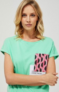 Zielony t-shirt Moodo z krótkim rękawem z bawełny