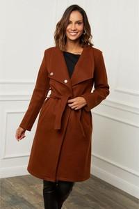 Brązowy płaszcz Le Comptoir Du Manteau z wełny