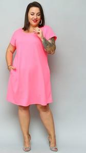 Sukienka KARKO trapezowa z krótkim rękawem z dzianiny