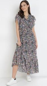 Sukienka born2be z dekoltem w kształcie litery v z krótkim rękawem maxi