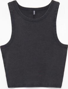 Czarna bluzka Cropp z okrągłym dekoltem w stylu casual