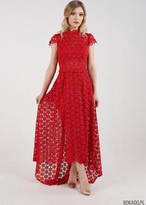 Czerwona sukienka Rokado asymetryczna hiszpanka maxi