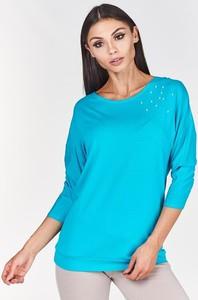 Turkusowa bluzka Fokus w stylu casual z długim rękawem