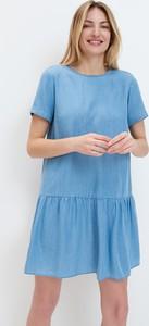 Niebieska sukienka Mohito mini z krótkim rękawem