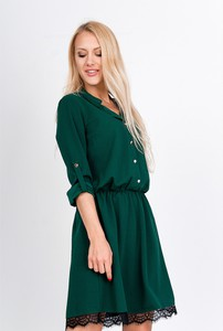 Zielona sukienka Zoio mini w stylu casual z długim rękawem