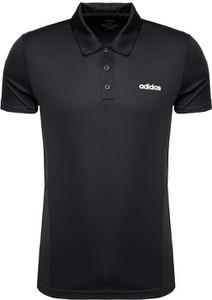 Czarna koszulka polo Adidas w sportowym stylu z dżerseju