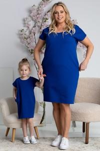 Niebieska sukienka KARKO w sportowym stylu z krótkim rękawem