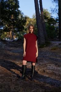 Czerwona sukienka Rodier mini z wełny