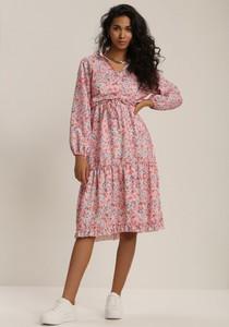 Różowa sukienka Renee midi z długim rękawem z dekoltem w kształcie litery v