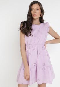 Fioletowa sukienka born2be trapezowa mini