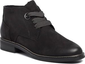 Czarne botki Marco Tozzi sznurowane w stylu casual