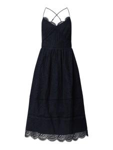 Granatowa sukienka Tommy Hilfiger z dekoltem w kształcie litery v z bawełny