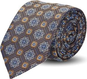 Brązowy krawat recman w abstrakcyjne wzory