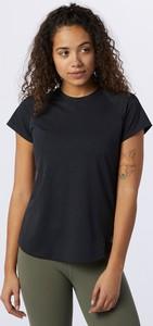 Czarny t-shirt New Balance z krótkim rękawem z okrągłym dekoltem z żakardu