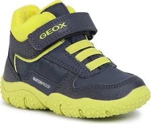 Granatowe buty dziecięce zimowe Geox na rzepy