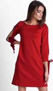 Czerwona sukienka Ivon mini z długim rękawem w stylu casual