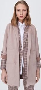 Różowy płaszcz Sinsay z zamszu w stylu casual