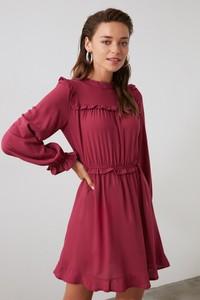 Fioletowa sukienka Trendyol z długim rękawem mini