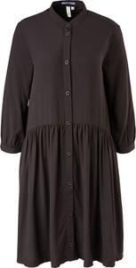Czarna sukienka S.Oliver w stylu casual mini z kołnierzykiem