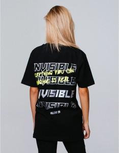 Czarny t-shirt MAJORS z krótkim rękawem z okrągłym dekoltem