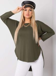 Zielona bluzka Sheandher.pl z długim rękawem w stylu casual z okrągłym dekoltem