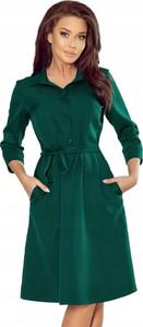 Zielona sukienka NUMOCO mini z kołnierzykiem koszulowa