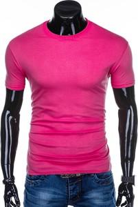 Różowy t-shirt Edoti z krótkim rękawem