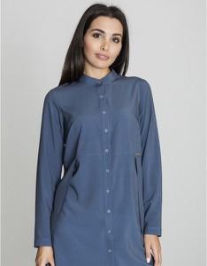 Niebieska koszula Figl w stylu casual z długim rękawem
