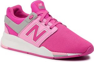 Buty sportowe New Balance ze skóry ekologicznej sznurowane z płaską podeszwą
