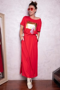 Sukienka Shoq maxi z krótkim rękawem oversize