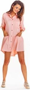 Różowa sukienka Awama koszulowa w stylu casual z kołnierzykiem