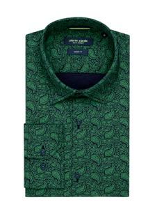 Zielona koszula Pierre Cardin z kołnierzykiem button down
