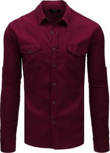 Czerwona koszula Dstreet z klasycznym kołnierzykiem