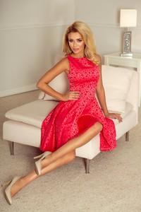 Czerwona sukienka NUMOCO z okrągłym dekoltem midi rozkloszowana
