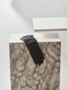 Czarne rękawiczki Top Secret ze skóry