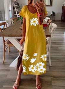 Sukienka Cikelly z krótkim rękawem maxi z dekoltem w kształcie litery v