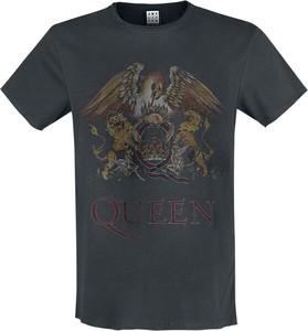 Czarny t-shirt Queen z nadrukiem z bawełny z krótkim rękawem