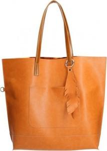 dfdef19e5a575 Pomarańczowa torebka Chiara Design z breloczkiem na ramię duża