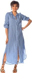 Sukienka La Fabrique Du Lin z kołnierzykiem maxi z długim rękawem