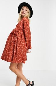 ASOS DESIGN Maternity – Rdzawa luźna sukienka mini oversize w drobne kwiatki z kopertowym dekoltem-Pomarańczowy