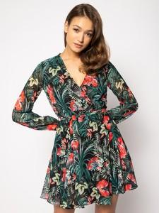 Sukienka Guess w stylu casual rozkloszowana z długim rękawem