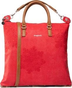 Czerwona torebka eobuwie.pl duża w stylu casual z tłoczeniem