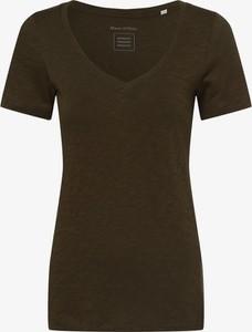 Zielony t-shirt Marc O'Polo z dekoltem w kształcie litery v