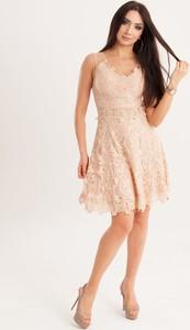 Sukienka Butik Ecru na ramiączkach mini rozkloszowana