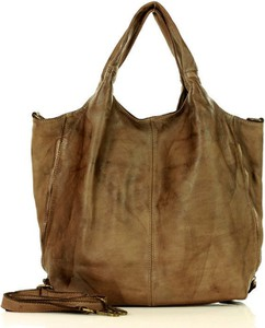 Brązowa torebka Marco Mazzini Handmade matowa duża na ramię