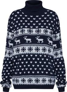 Granatowy sweter Leger By Lena Gercke w bożonarodzeniowy wzór w stylu casual
